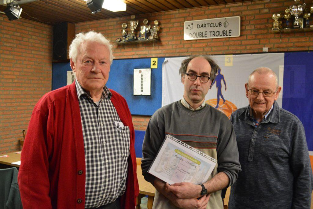 De prijswinnaars: Jo Schreinemachers (3e), Arthur Hendrickx (1e) en Peter Simonis (2e)