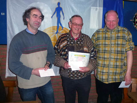 De prijswinnaars: Arthur Hendrickx (3e), Peter Simonis (1e) en Iwan Sentjens (2e)